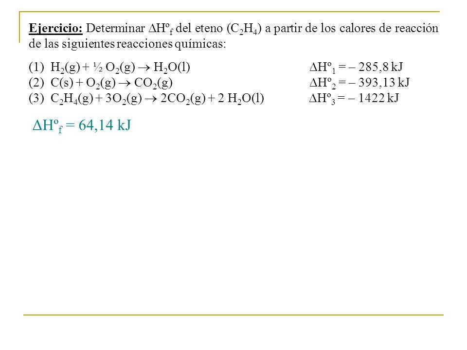 Ejercicio: Determinar Hºf del eteno (C2H4) a partir de los calores de reacción de las siguientes reacciones químicas: