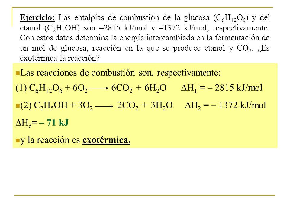 (2) C2H5OH + 3O2 2CO2 + 3H2O H2 = – 1372 kJ/mol H3= – 71 kJ