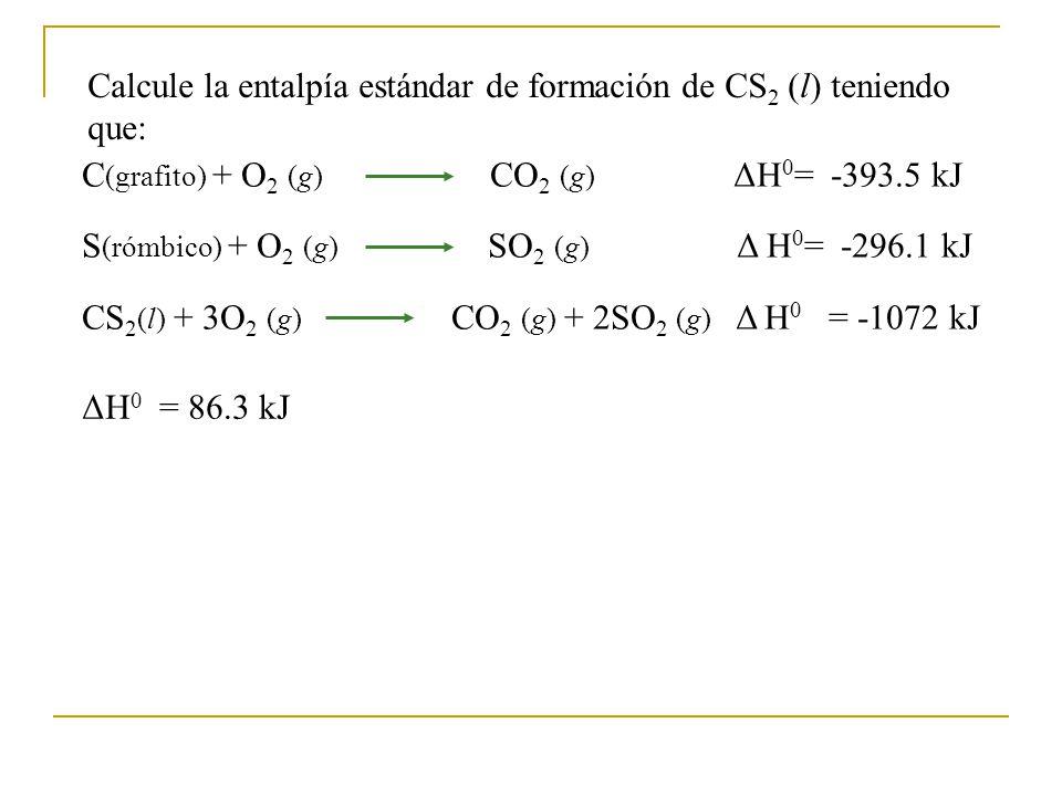 Calcule la entalpía estándar de formación de CS2 (l) teniendo que: