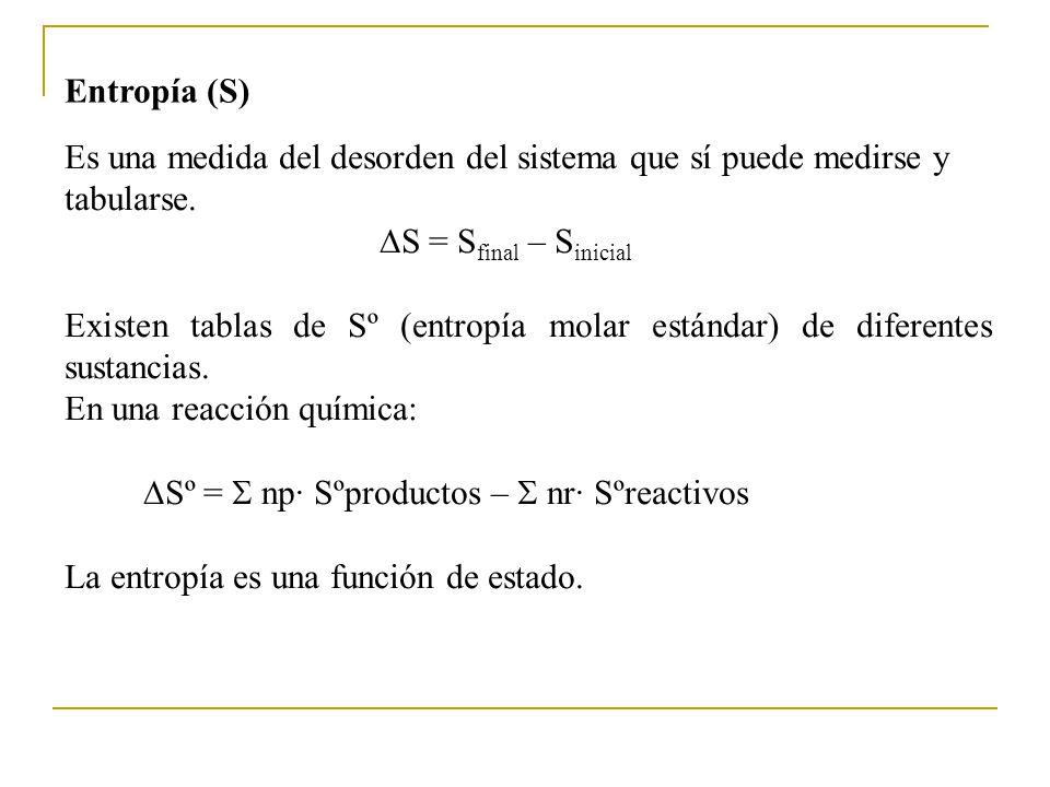 Entropía (S) Es una medida del desorden del sistema que sí puede medirse y tabularse. S = Sfinal – Sinicial.