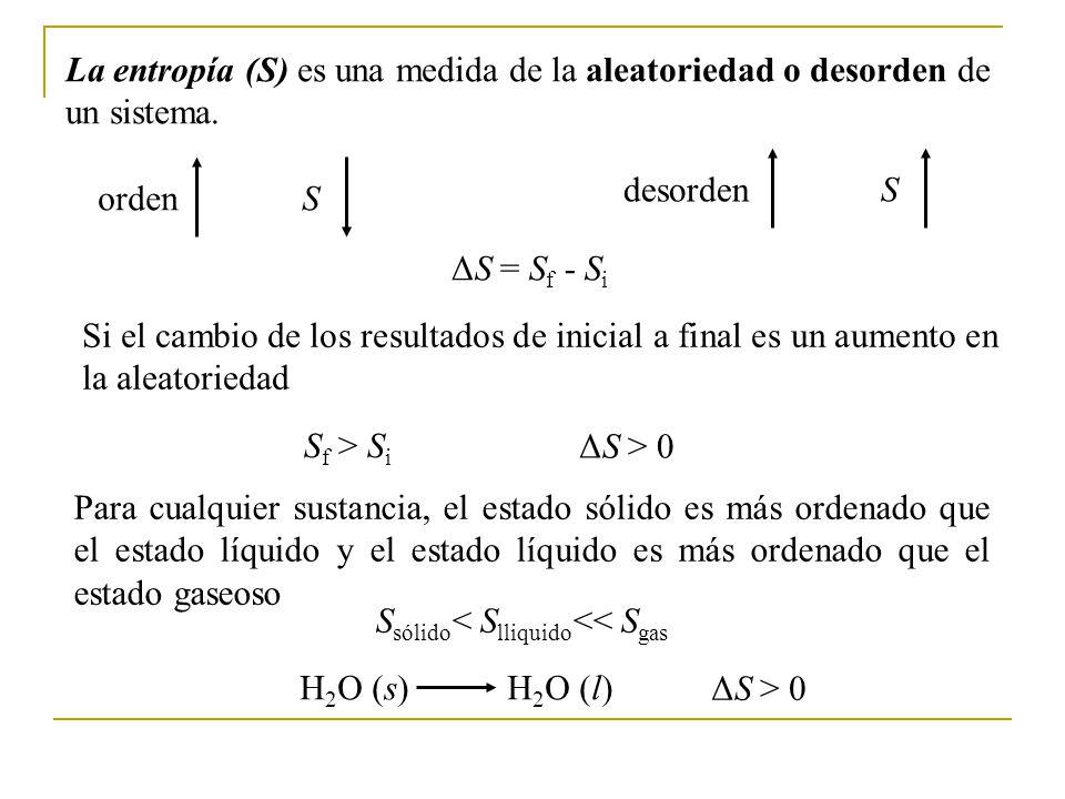 La entropía (S) es una medida de la aleatoriedad o desorden de un sistema.