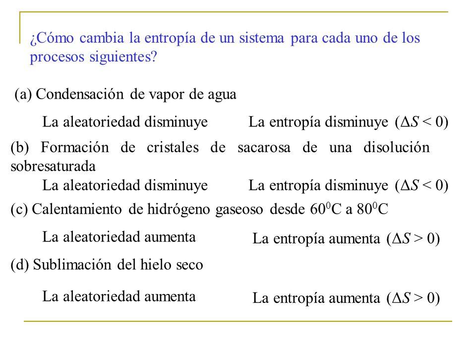 ¿Cómo cambia la entropía de un sistema para cada uno de los procesos siguientes