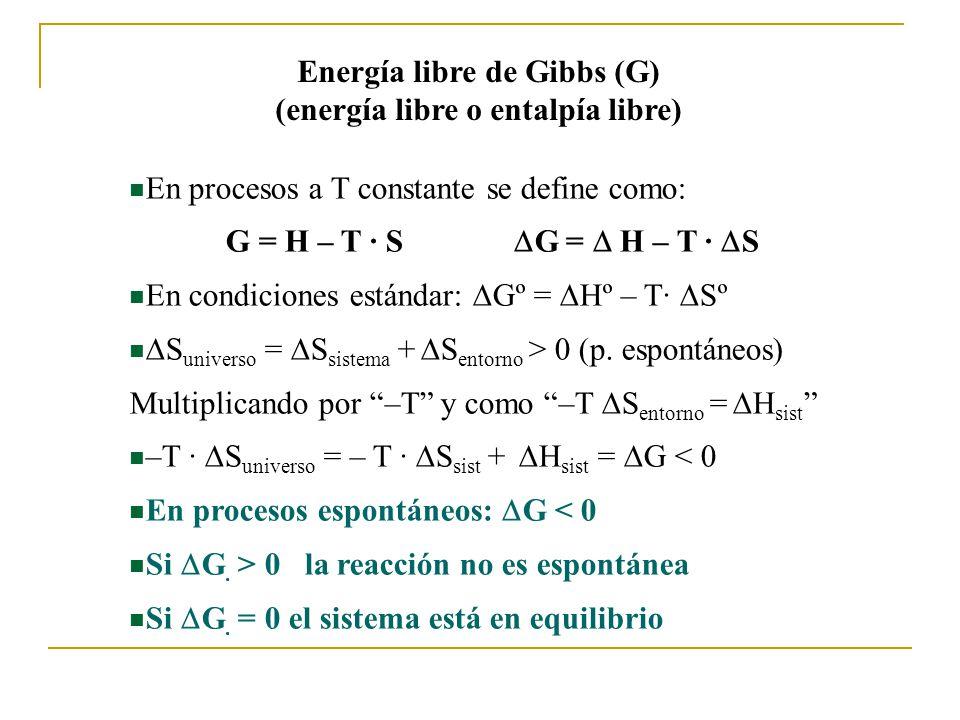 Energía libre de Gibbs (G) (energía libre o entalpía libre)