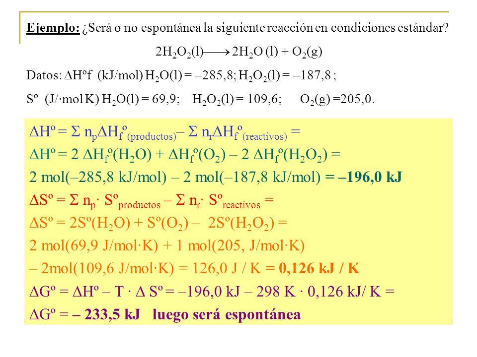 Hº =  npHfº(productos)–  nrHfº(reactivos) =