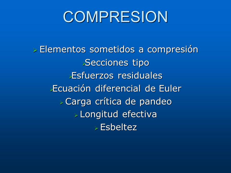 COMPRESION Elementos sometidos a compresión Secciones tipo
