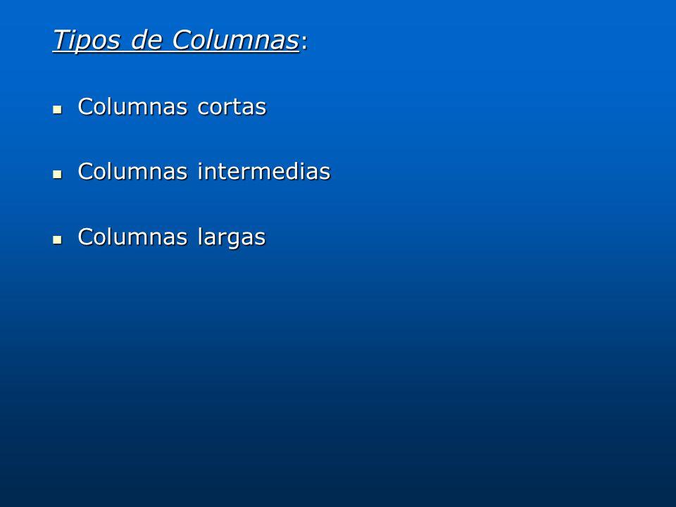 Tipos de Columnas: Columnas cortas Columnas intermedias