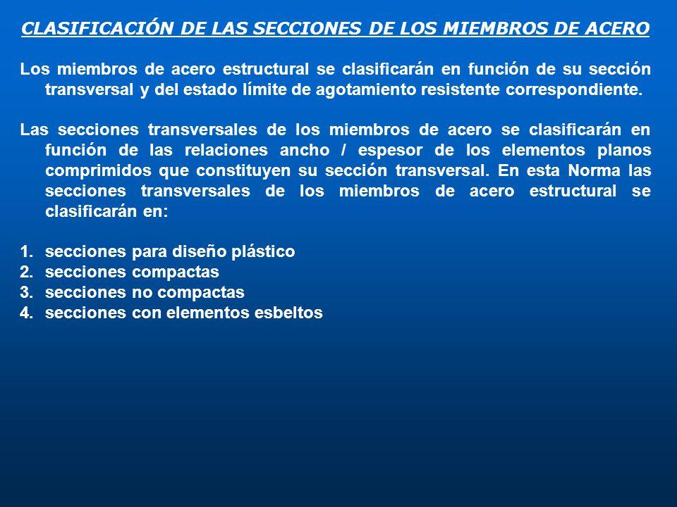 CLASIFICACIÓN DE LAS SECCIONES DE LOS MIEMBROS DE ACERO