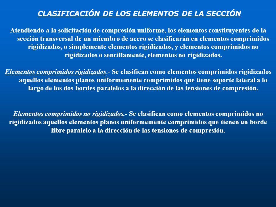 CLASIFICACIÓN DE LOS ELEMENTOS DE LA SECCIÓN