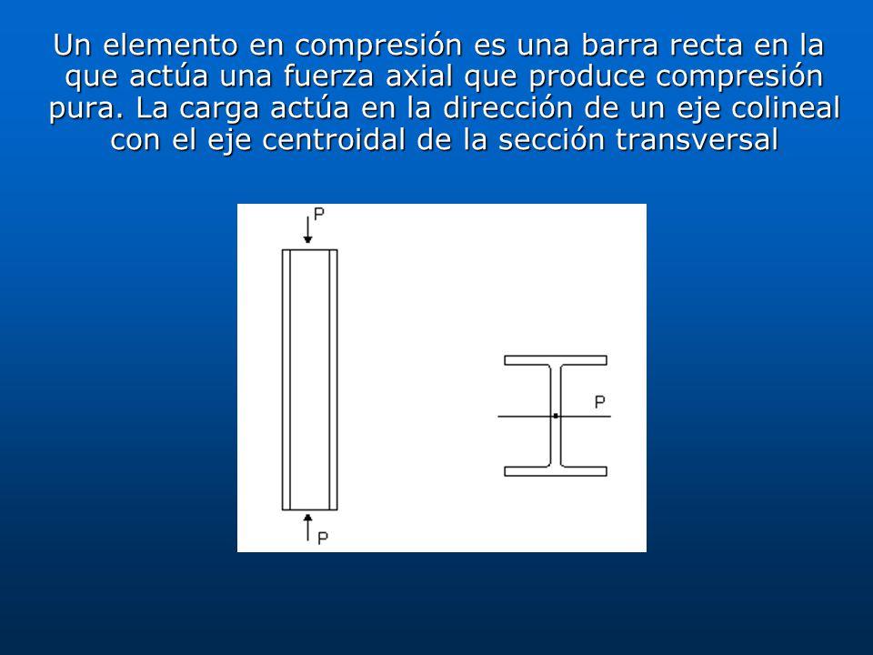 Un elemento en compresión es una barra recta en la que actúa una fuerza axial que produce compresión pura. La carga actúa en la dirección de un eje colineal con el eje centroidal de la sección transversal