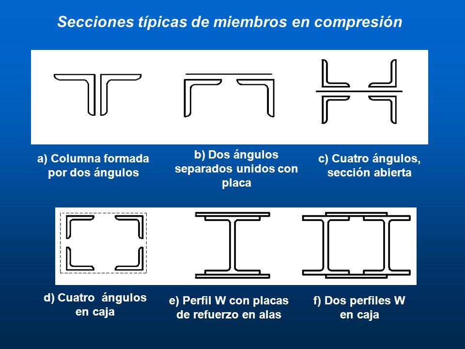 Secciones típicas de miembros en compresión