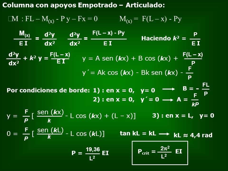 åM : FL – M(x) - P y – Fx = 0 M(x) = F(L – x) - Py