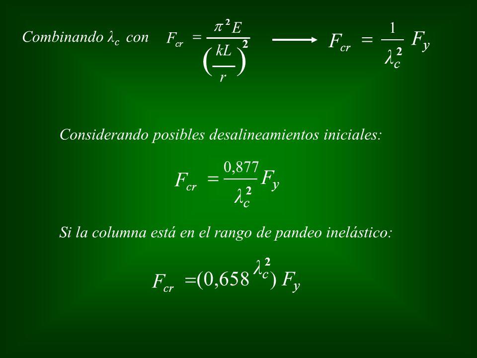 ( ) F = Fy λc F = Fy λc λc F =(0,658 ) Fy p E 1 F = Combinando λc con