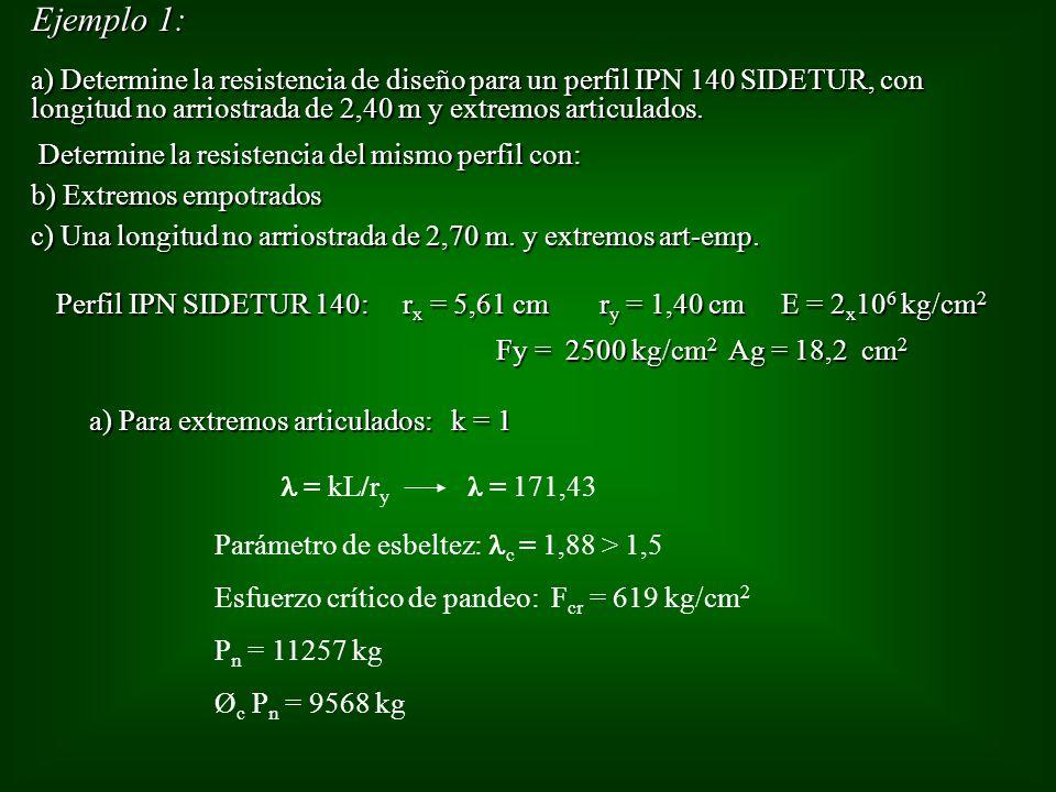 Ejemplo 1: a) Determine la resistencia de diseño para un perfil IPN 140 SIDETUR, con longitud no arriostrada de 2,40 m y extremos articulados.