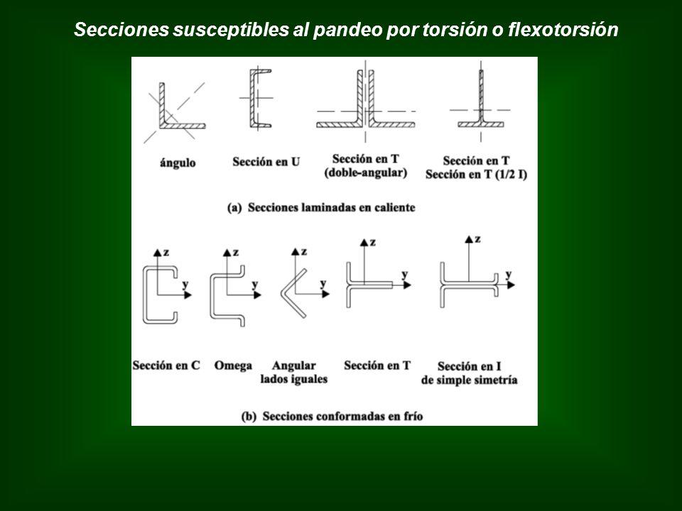 Secciones susceptibles al pandeo por torsión o flexotorsión