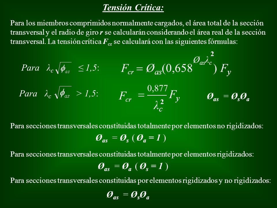 = Øas(0,658 ) Fy F Fy = F λc Tensión Crítica: Øasλc Para λc ≤ 1,5: