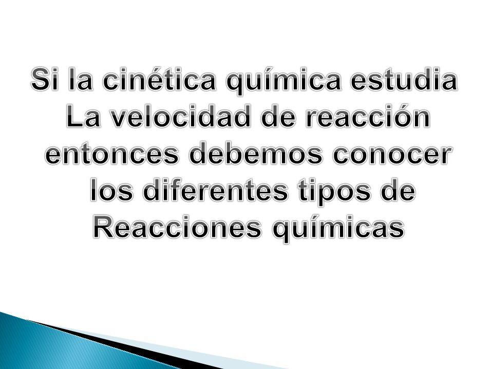 Si la cinética química estudia La velocidad de reacción