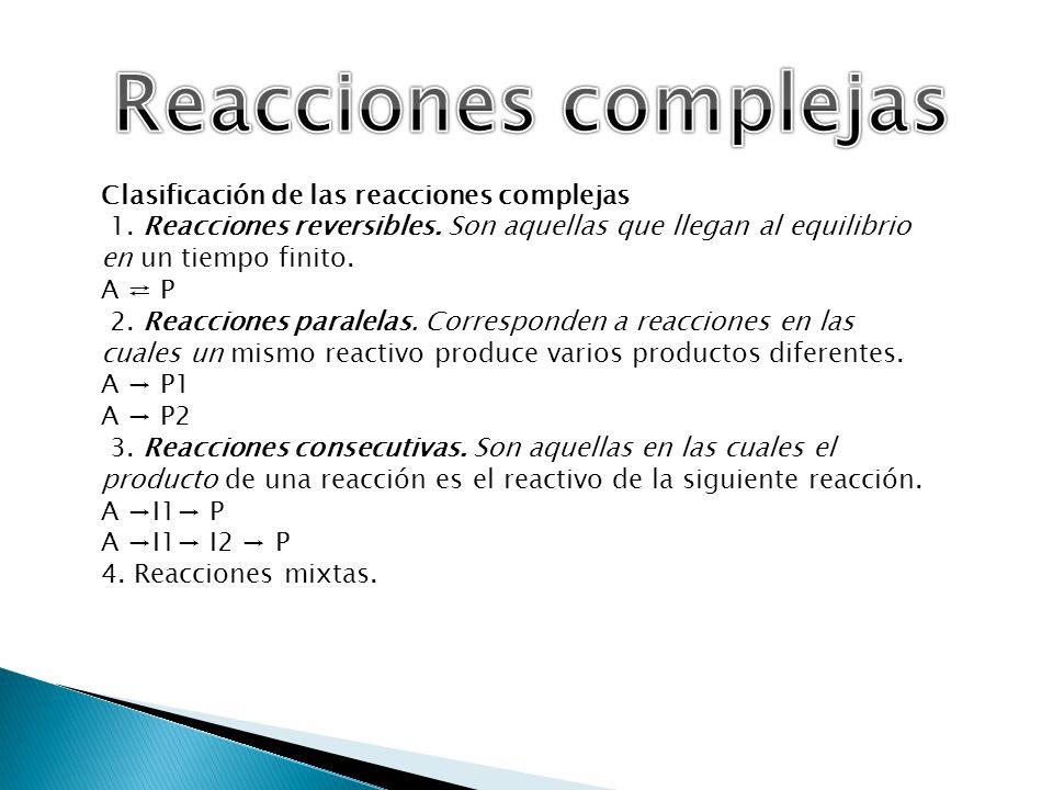 Reacciones complejas Clasificación de las reacciones complejas