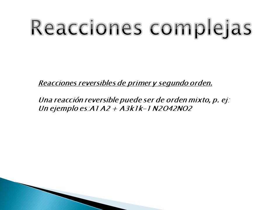 Reacciones complejas Reacciones reversibles de primer y segundo orden.