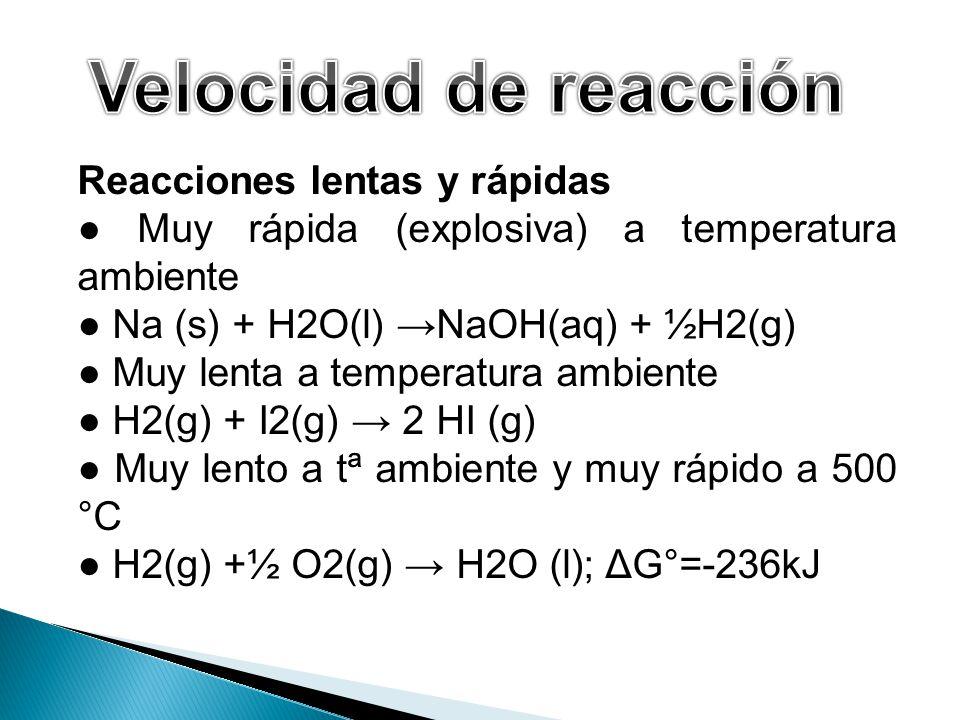 Velocidad de reacción Reacciones lentas y rápidas