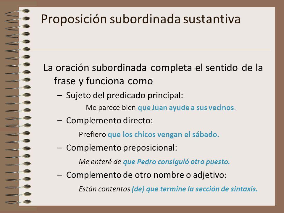 Proposición subordinada sustantiva