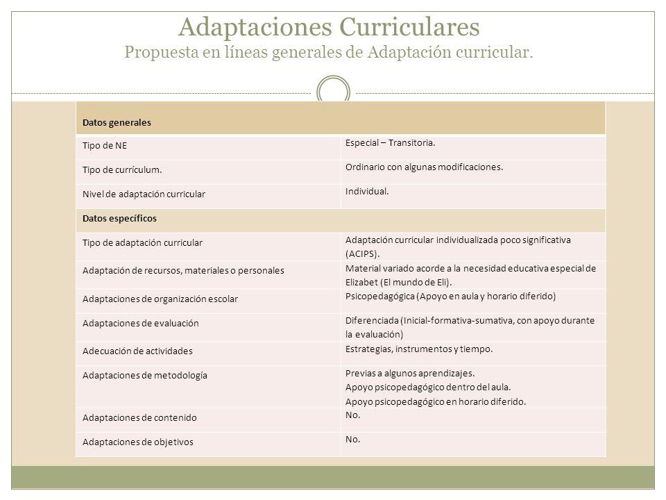 Adaptaciones Curriculares Propuesta en líneas generales de Adaptación curricular.