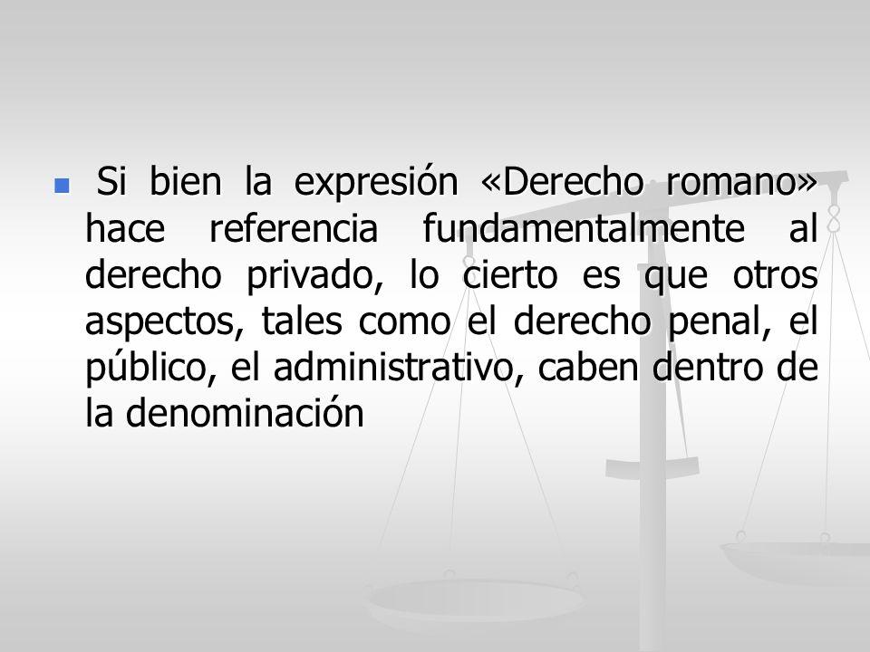 Si bien la expresión «Derecho romano» hace referencia fundamentalmente al derecho privado, lo cierto es que otros aspectos, tales como el derecho penal, el público, el administrativo, caben dentro de la denominación