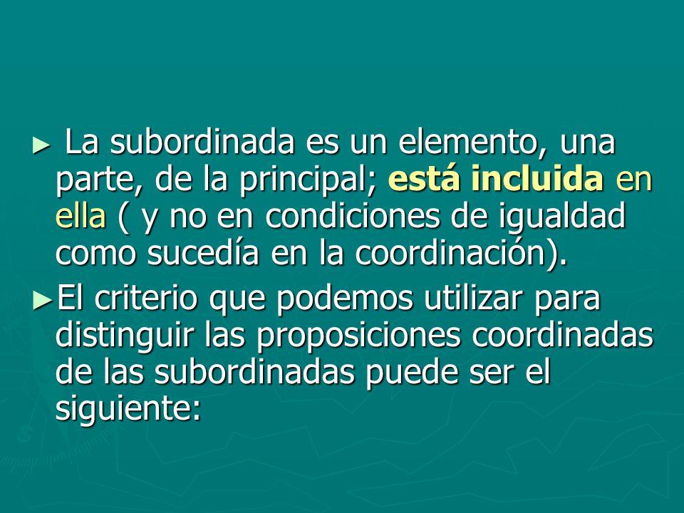 La subordinada es un elemento, una parte, de la principal; está incluida en ella ( y no en condiciones de igualdad como sucedía en la coordinación).