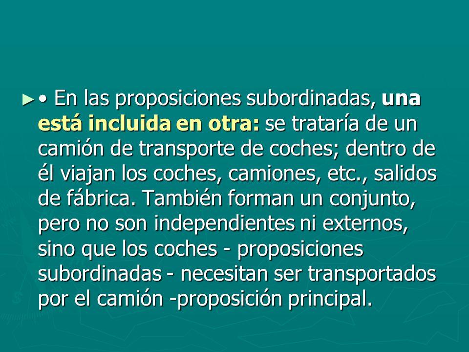 • En las proposiciones subordinadas, una está incluida en otra: se trataría de un camión de transporte de coches; dentro de él viajan los coches, camiones, etc., salidos de fábrica.