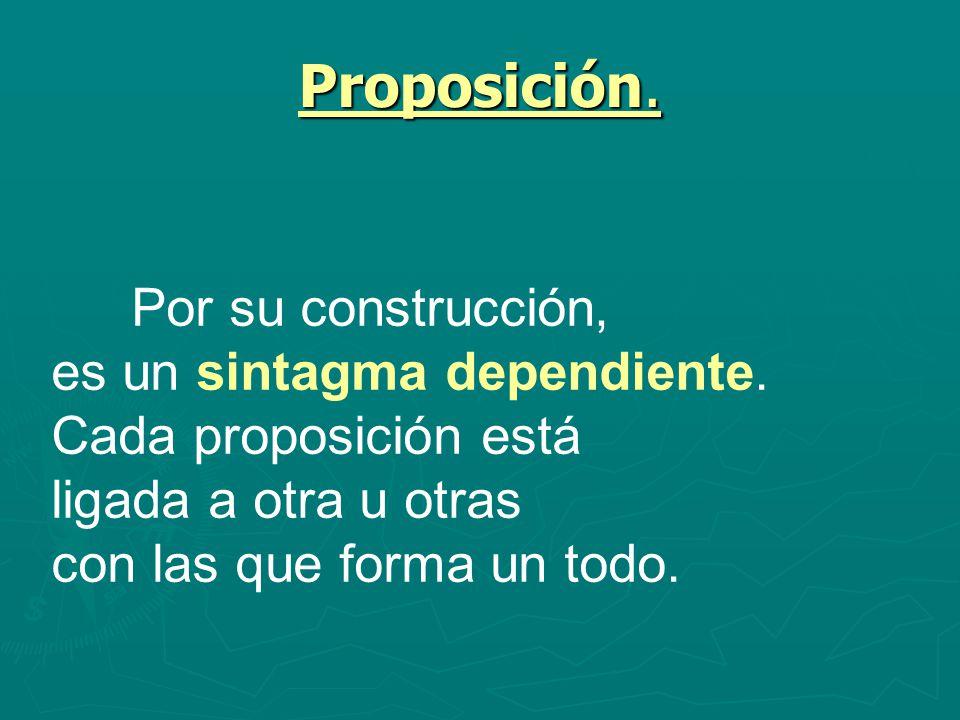 Proposición. es un sintagma dependiente. Cada proposición está