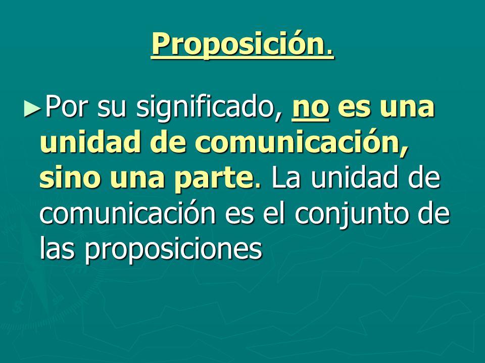 Proposición. Por su significado, no es una unidad de comunicación, sino una parte.