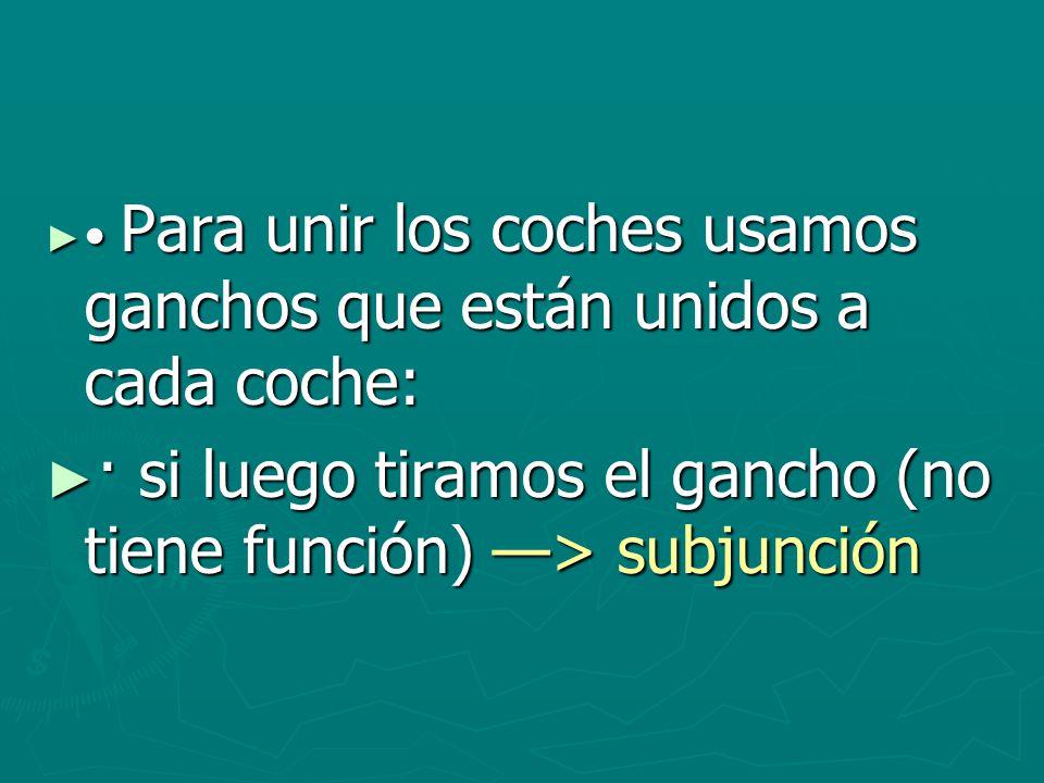 · si luego tiramos el gancho (no tiene función) —> subjunción