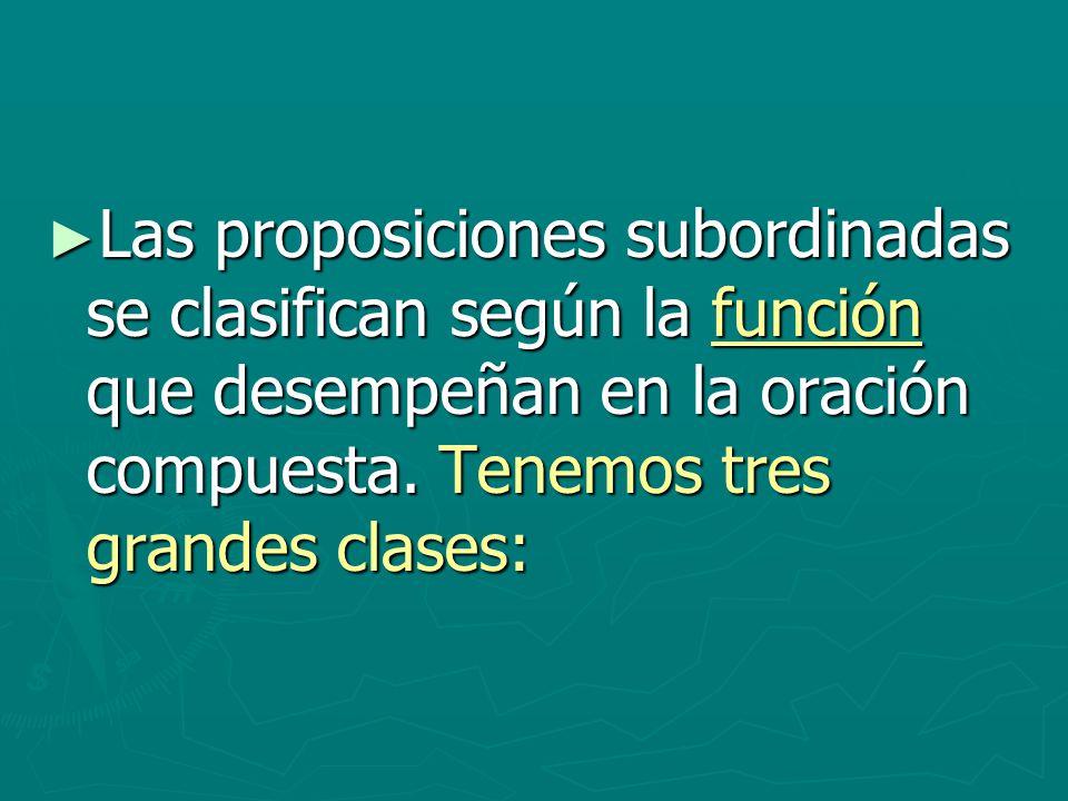 Las proposiciones subordinadas se clasifican según la función que desempeñan en la oración compuesta.