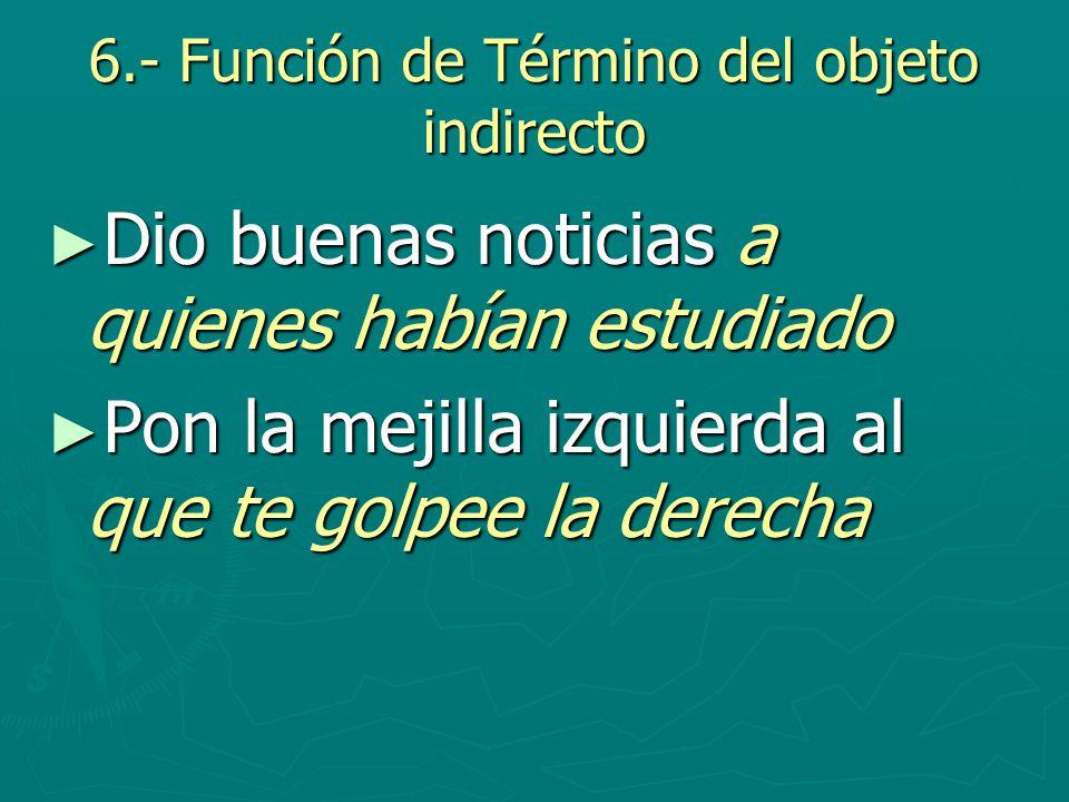 6.- Función de Término del objeto indirecto