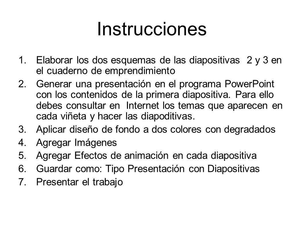 Instrucciones Elaborar los dos esquemas de las diapositivas 2 y 3 en el cuaderno de emprendimiento.