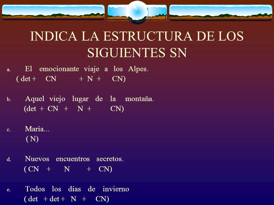 INDICA LA ESTRUCTURA DE LOS SIGUIENTES SN
