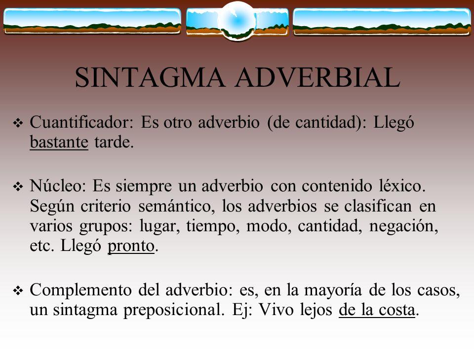 SINTAGMA ADVERBIAL Cuantificador: Es otro adverbio (de cantidad): Llegó bastante tarde.