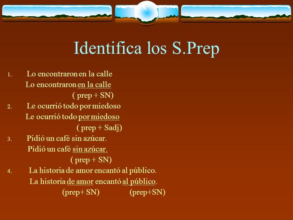Identifica los S.Prep Lo encontraron en la calle ( prep + SN)