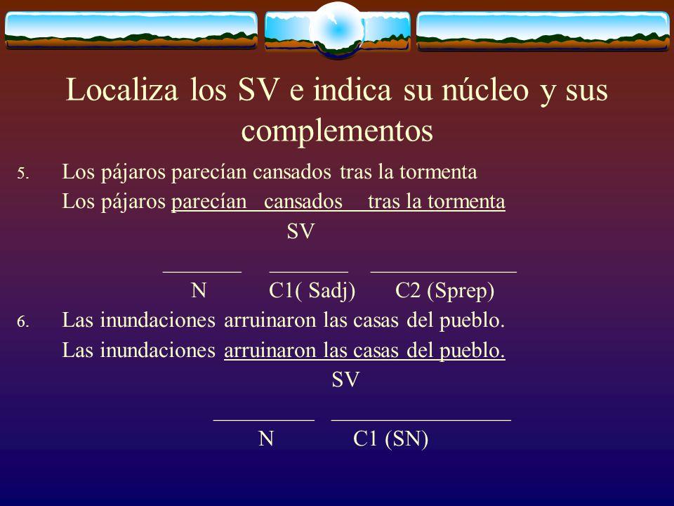 Localiza los SV e indica su núcleo y sus complementos