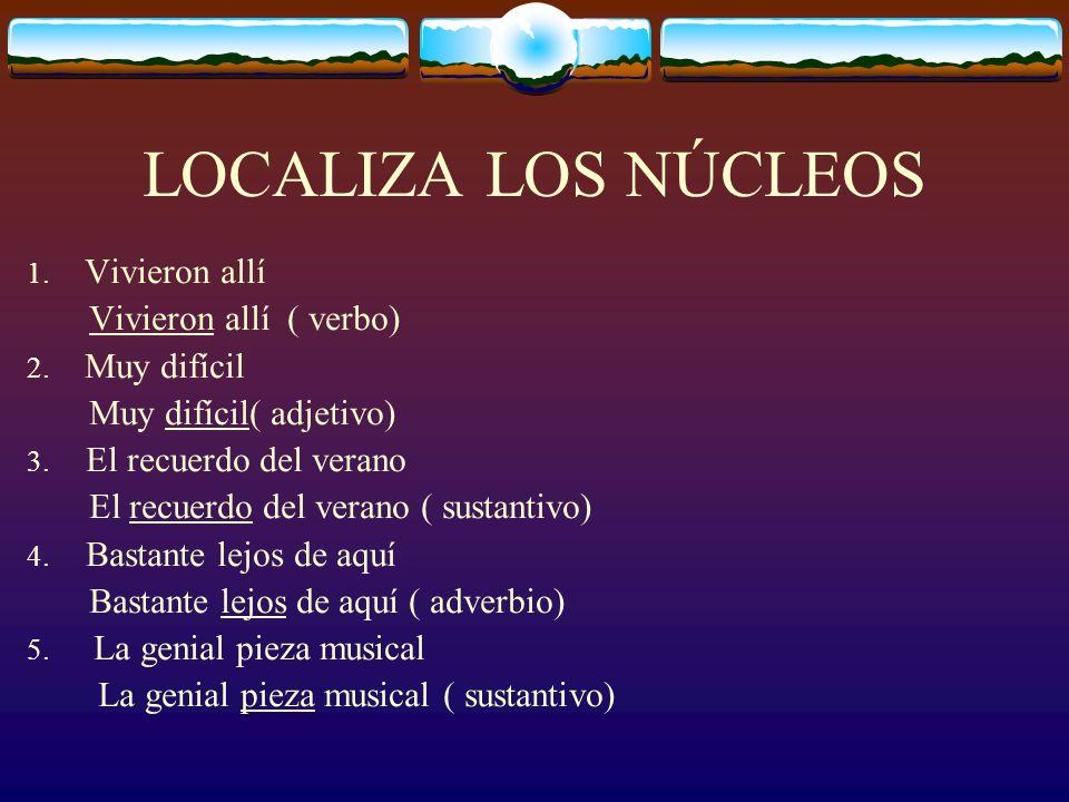 LOCALIZA LOS NÚCLEOS Vivieron allí ( verbo) Muy difícil( adjetivo)