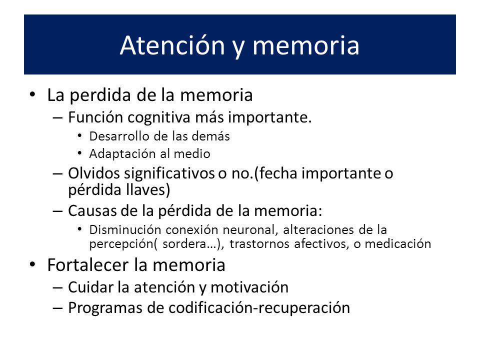 Atención y memoria La perdida de la memoria Fortalecer la memoria