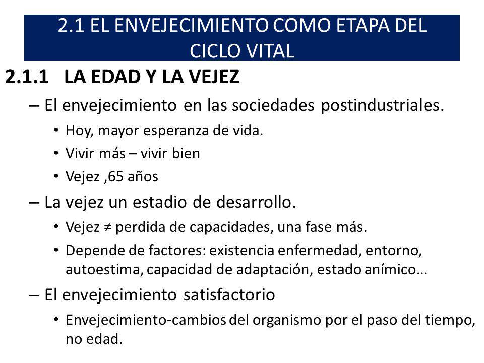 2.1 EL ENVEJECIMIENTO COMO ETAPA DEL CICLO VITAL