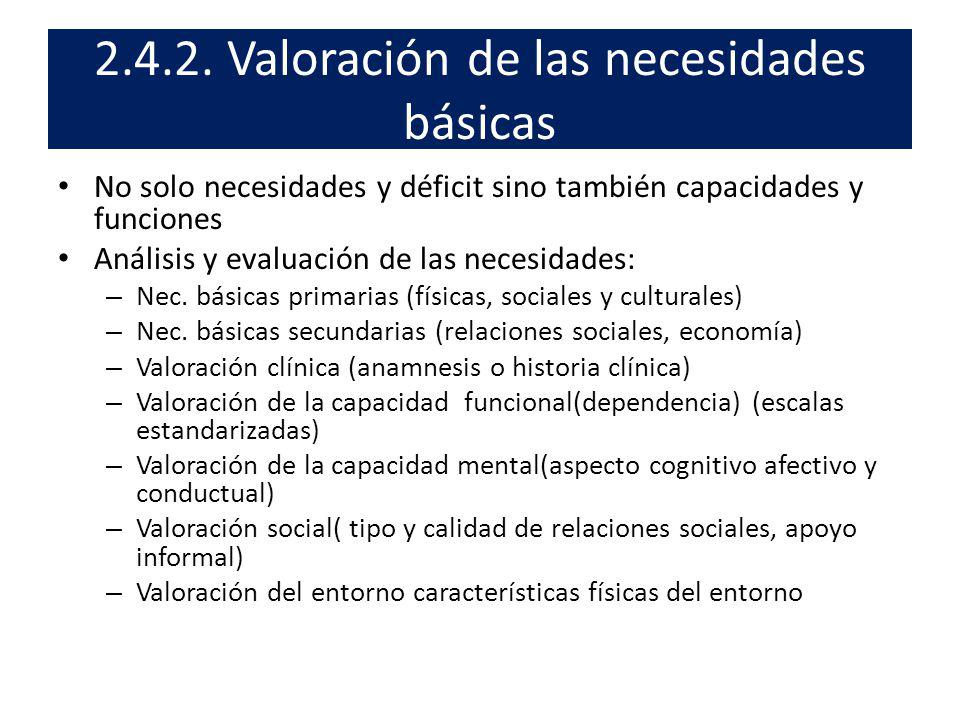 2.4.2. Valoración de las necesidades básicas