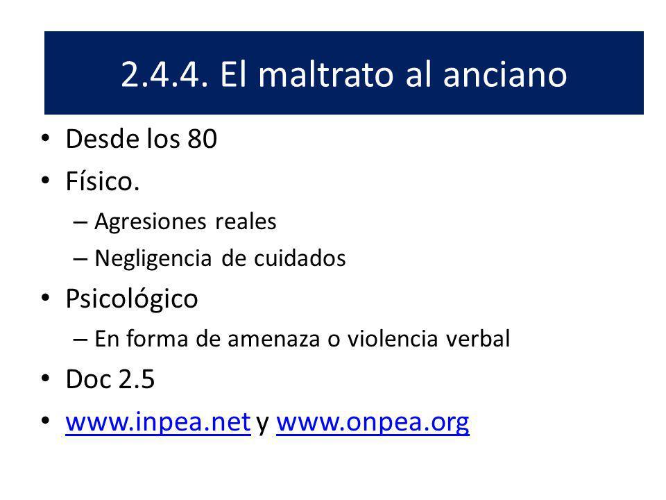 El 2.4.4. El maltrato al anciano Desde los 80 Físico. Psicológico