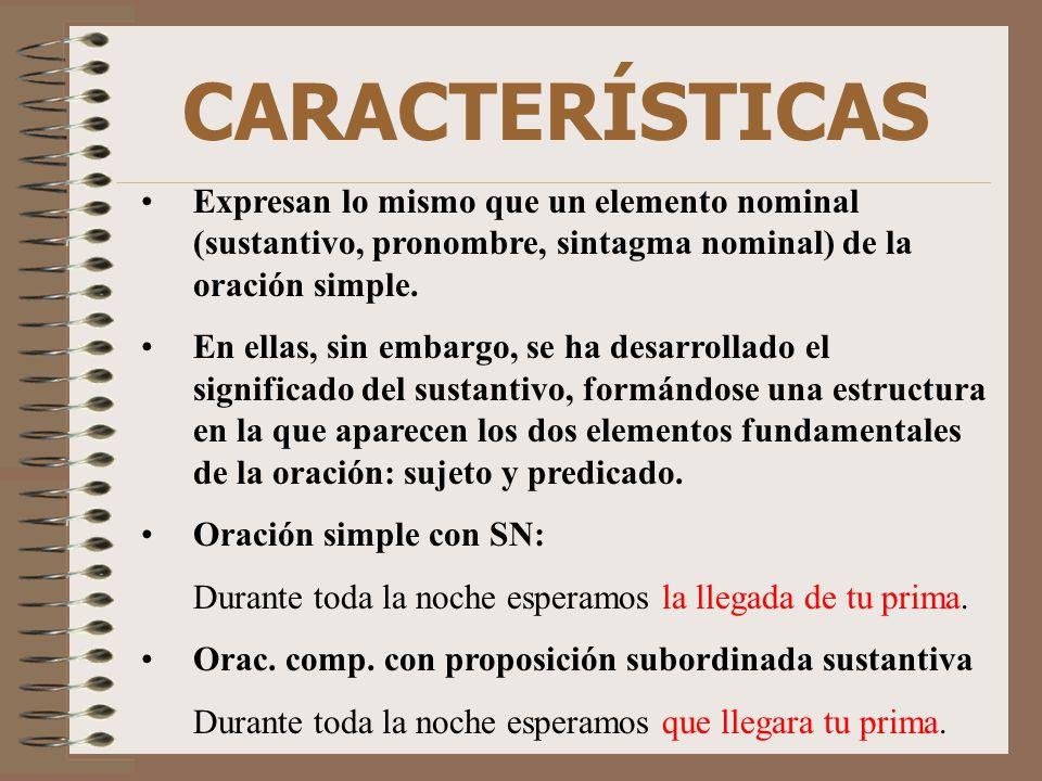 CARACTERÍSTICAS Expresan lo mismo que un elemento nominal (sustantivo, pronombre, sintagma nominal) de la oración simple.