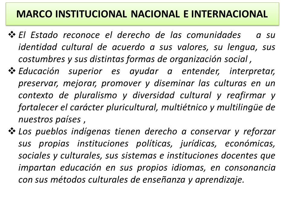 MARCO INSTITUCIONAL NACIONAL E INTERNACIONAL