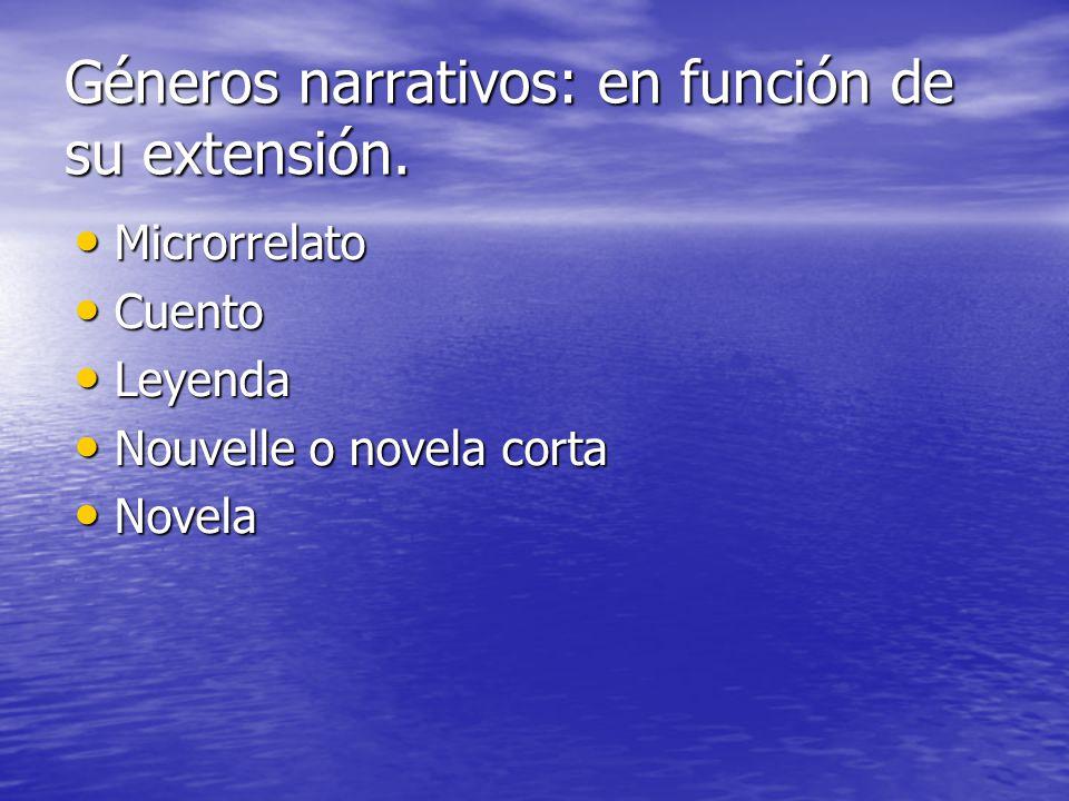 Géneros narrativos: en función de su extensión.