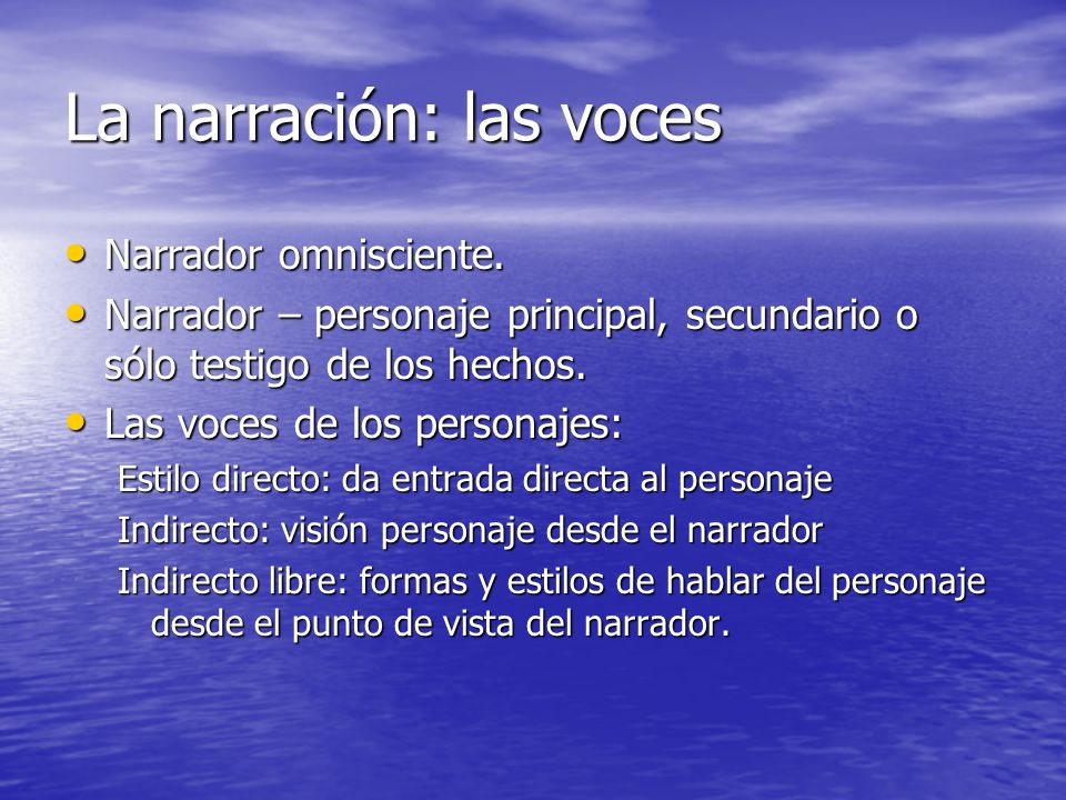 La narración: las voces