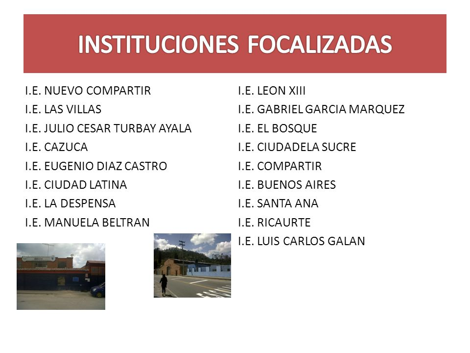 INSTITUCIONES FOCALIZADAS