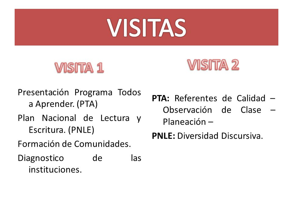 VISITAS VISITA 1. VISITA 2.