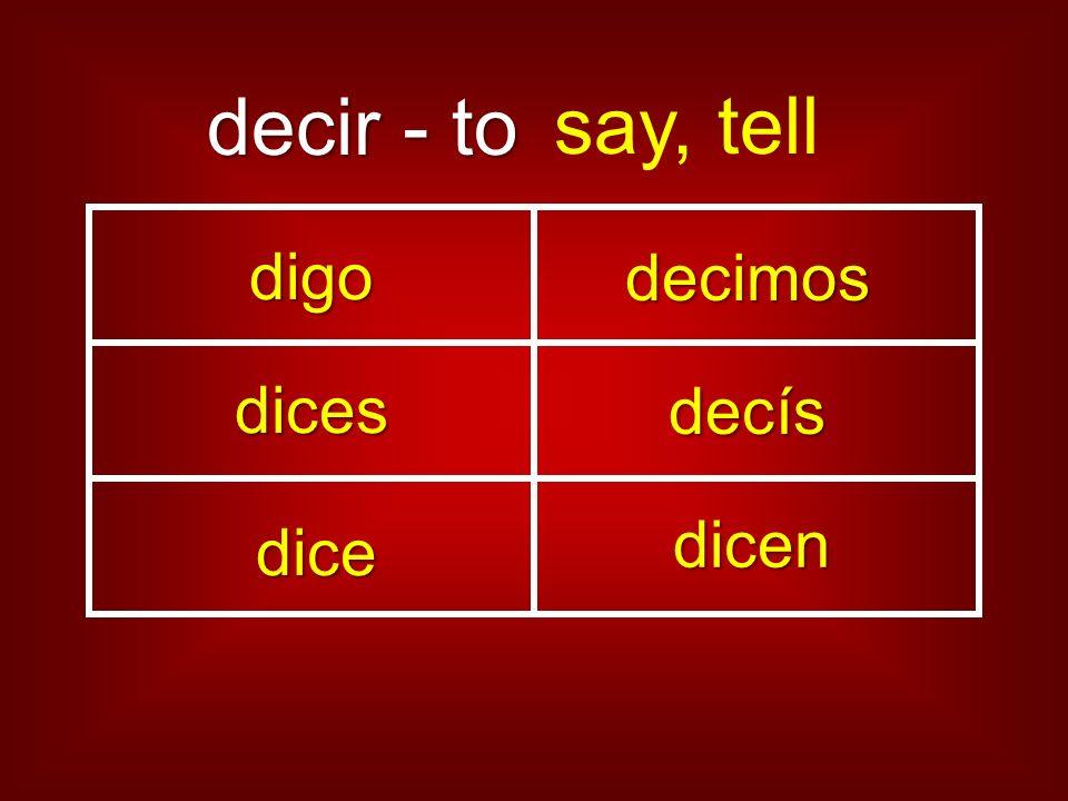 decir - to say, tell digo decimos dices decís dice dicen